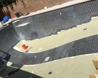 floor tiling in progress