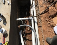 Light conduit and plumbing in progress